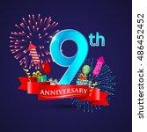 celebrating 9th anniversary... | Shutterstock .eps vector #486452452