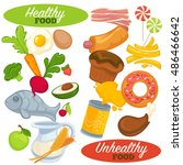 healthy and unhealthy food set. ... | Shutterstock .eps vector #486466642
