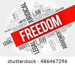 freedom word cloud concept | Shutterstock . vector #486467296