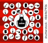 vector kitchenware icons on the ... | Shutterstock .eps vector #486467956