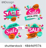 sale   set of bright modern... | Shutterstock .eps vector #486469576