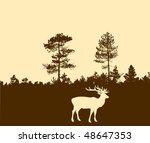 vector silhouette of the deer - stock vector