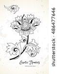 fantastic exotic flowers in... | Shutterstock .eps vector #486477646