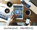 application connection digital... | Shutterstock . vector #486480142
