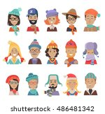 set of boys and girls in hats.... | Shutterstock .eps vector #486481342