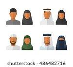 arabic man and woman set ... | Shutterstock . vector #486482716