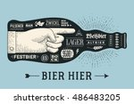 bottle of beer with hand drawn... | Shutterstock .eps vector #486483205