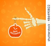 halloween theme  skeleton hand... | Shutterstock .eps vector #486490822