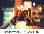 two friends toasting with... | Shutterstock . vector #486491182
