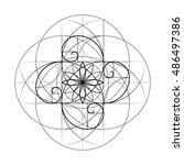 golden section. sacred geometry.... | Shutterstock .eps vector #486497386