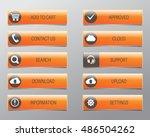 orange web buttons  high... | Shutterstock .eps vector #486504262