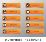 orange web buttons  high... | Shutterstock .eps vector #486504346