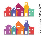 houses silhouettes vector.... | Shutterstock .eps vector #486504796