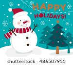 cute snowman illustration for... | Shutterstock .eps vector #486507955