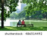 Couple Love Sitting Together O...