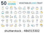 set vector line icons in flat...