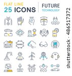 set vector line icons in flat... | Shutterstock .eps vector #486517372