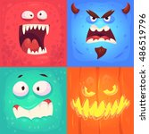cartoon monster faces vector... | Shutterstock .eps vector #486519796