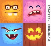 cartoon monster faces vector... | Shutterstock .eps vector #486519826