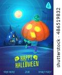 halloween illustration pumpkin...   Shutterstock .eps vector #486519832