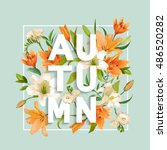 lily flowers background. autumn ... | Shutterstock .eps vector #486520282