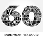 happy 60th birthday word cloud... | Shutterstock .eps vector #486520912