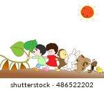 the harvest of potatoes. | Shutterstock .eps vector #486522202