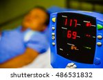 Stock photo screen display of vital sign monitor in hospital 486531832