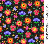 seamless pattern with flowers... | Shutterstock . vector #486533128