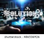 businessman holding hand drawn... | Shutterstock . vector #486536926