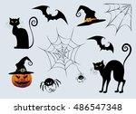 Stock vector halloween stuff set black cats witch hat spider web pumpkin jack o lantern cool stylized 486547348