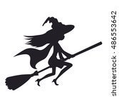 cute witch flying on a broom... | Shutterstock .eps vector #486553642