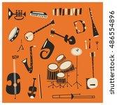 jazz instruments | Shutterstock .eps vector #486554896