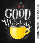 poster with yellow cups of...   Shutterstock .eps vector #486555616