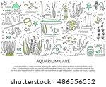 aquarium care. vector...   Shutterstock .eps vector #486556552
