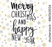 """hand lettering  phrase """"merry...   Shutterstock .eps vector #486563026"""