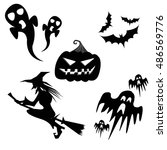 halloween collection   vector... | Shutterstock .eps vector #486569776