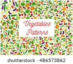 vegetables seamless vector... | Shutterstock .eps vector #486573862