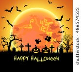 halloween illustration with... | Shutterstock .eps vector #486574522