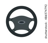 car steering wheel icon in flat ... | Shutterstock .eps vector #486574792
