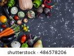 autumn vegetable harvest.... | Shutterstock . vector #486578206