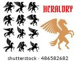 mythical pegasus horse... | Shutterstock .eps vector #486582682