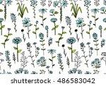 floral seamless pattern  sketch ... | Shutterstock .eps vector #486583042