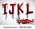 vector blood alphabet is... | Shutterstock .eps vector #486583186