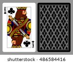 king of clubs playing card and... | Shutterstock .eps vector #486584416