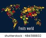 fruits world map placard.... | Shutterstock .eps vector #486588832