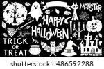 halloween icons set. happy... | Shutterstock .eps vector #486592288