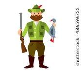 vector hunting ducks. flat... | Shutterstock .eps vector #486596722