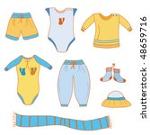 set of baby boy cute clothes | Shutterstock .eps vector #48659716