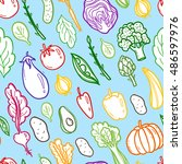 colorful vegetables seamless... | Shutterstock .eps vector #486597976